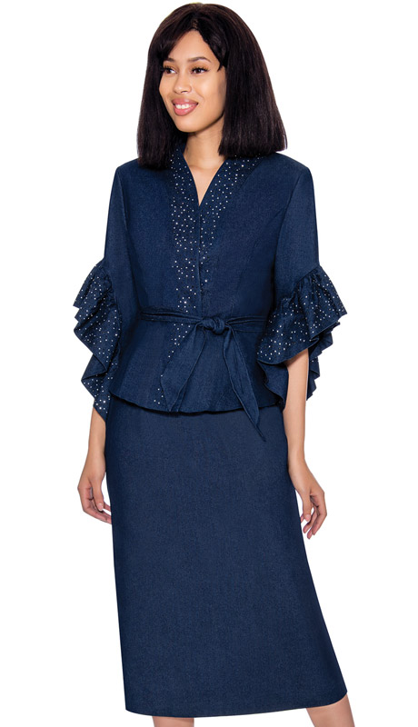 Devine Sport 62112-NA ( 2pc Denim Suit With Straight Skirt Ruffle Sleeve Jacket And Tie Belt With Jeweled Trim )