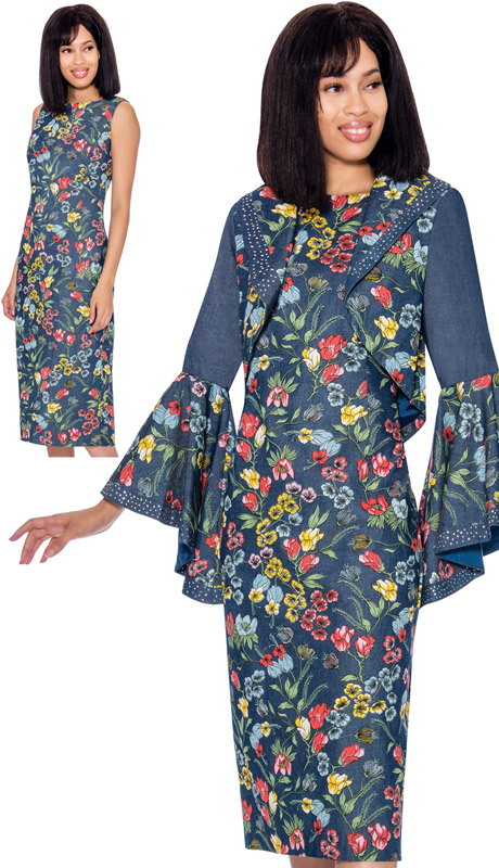 Devine Sport 62082-MU ( 2pc Floral Print Denim Dress With Bolero Jacket Flared Sleeves And Jeweled Trim )
