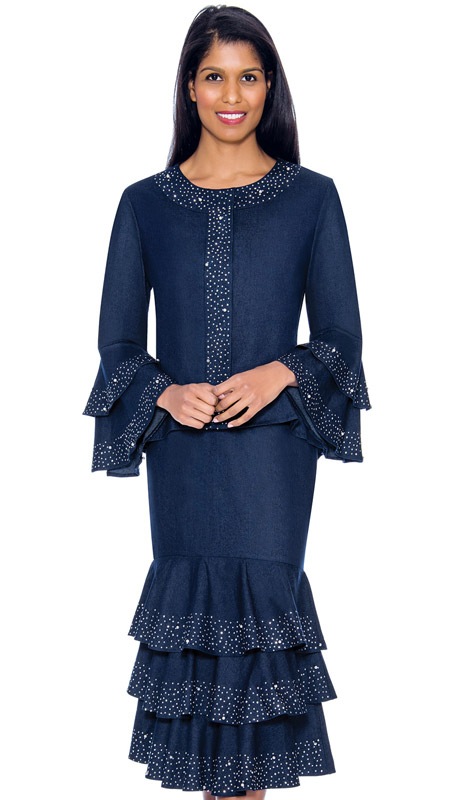 Devine Sport 61982-NA ( 2pc Denim Suit With Ruffle Tiered Skirt Top Ruffle Sleeves And Jeweled Trim )