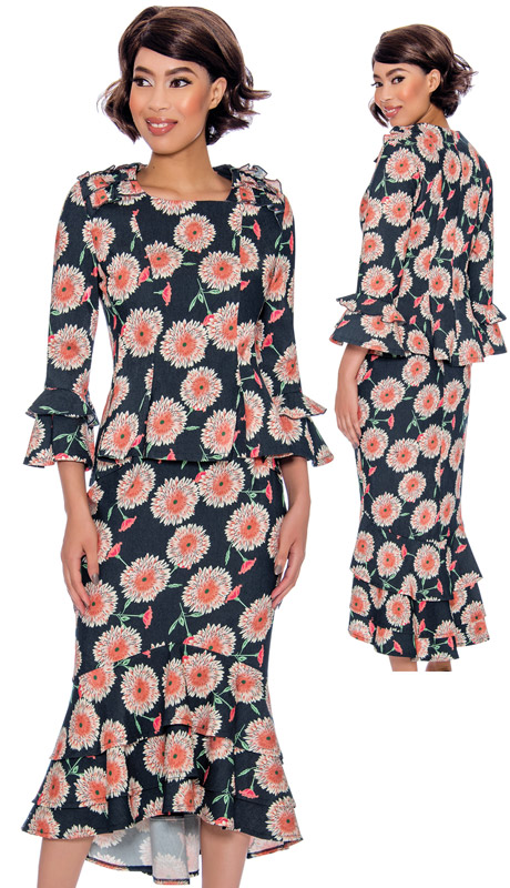 Devine Sport 62092-NA ( 2pc Denim Floral Print Suit With Fit-And-Flare Skirt And Ruffle Trim Jacket )