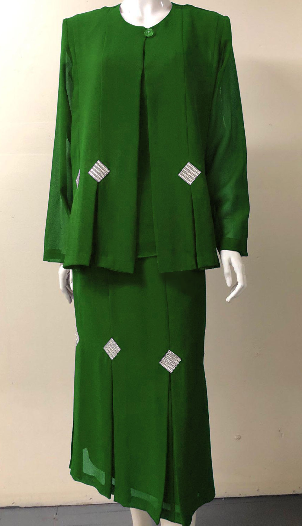 Diamond Collection 5241-KG ( 3pc Fully Lined Georgette Church Suit With Rhinestone Design )