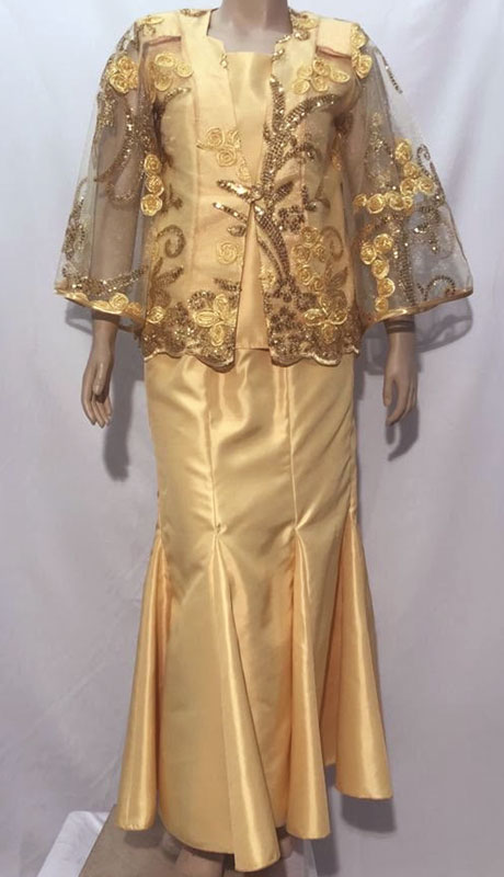 Diamond Collection B1240-GO ( 2pc Fully Lined Novelty Church Suit With Gold Organza Top )
