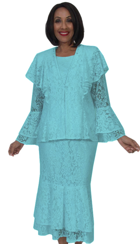 Diamond Collection 5291-BL ( 3pc Fully Lined Lace Church )