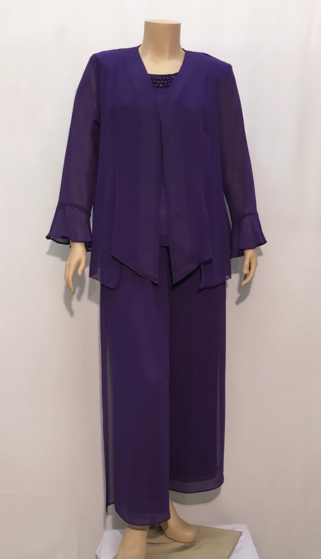 Diamond Collection  B1047  ( 3pc Fully Lined Georgette Pant Suit With Embellished Cami And Elastic Waistband )