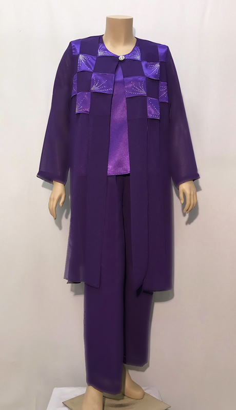 Diamond Collection A866 ( 3pc Fully Lined Georgette Pant Suit With Embellished Jacket And Elastic Waistband )