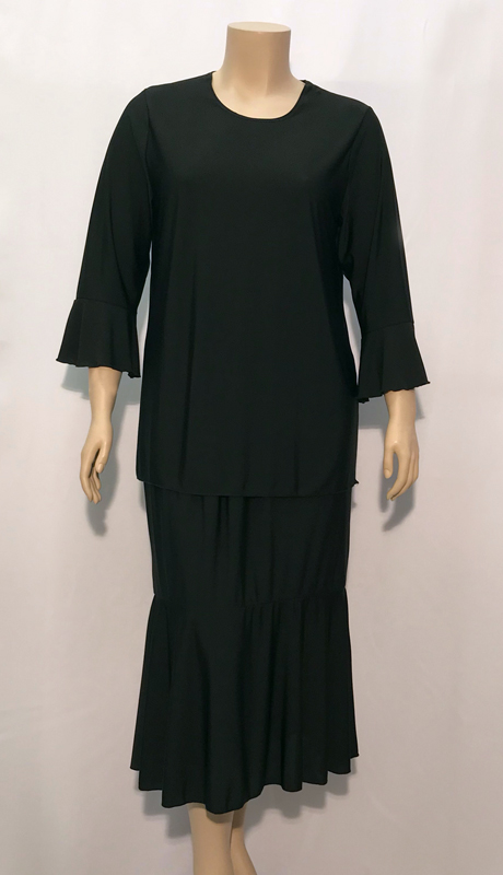 Diamond Collection B1224-BLK ( 2pc Fully Lined Renova Church Suit With Three Quarter Length Sleeves And Elastic Waistband )