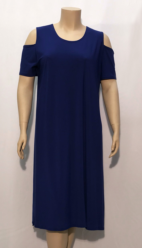 Diamond Collection B1155 ( 1pc Fully Lined Renova Dress With Open Shoulder Design )