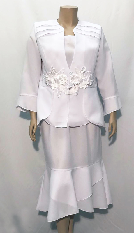 Diamond Collection B1273-WH ( 3pc Fully Lined Renova Church Suit With Pleated Embroidered Jacket And Elastic Waistband )