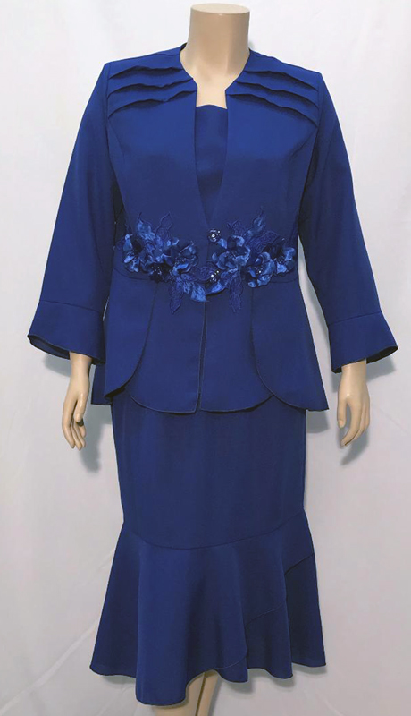Diamond Collection B1273-RO ( 3pc Fully Lined Renova Church Suit With Pleated Embroidered Jacket And Elastic Waistband )