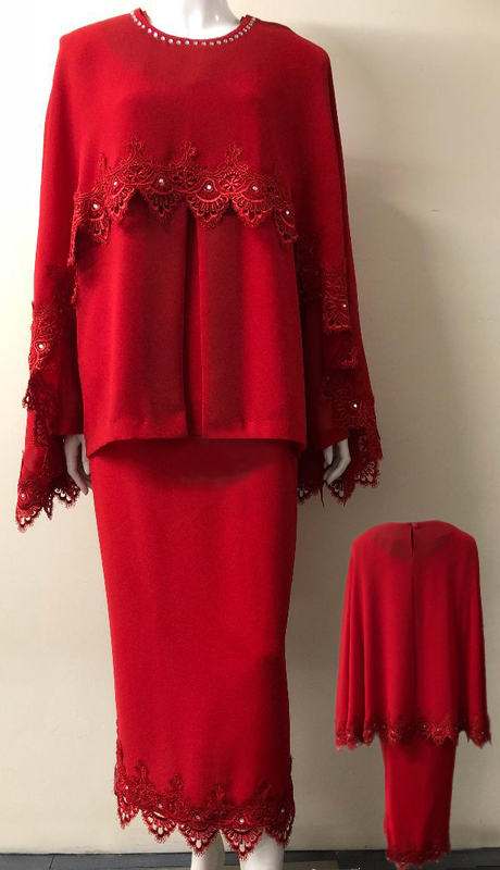 Diamond Collection 5087-RE ( 3pc Fully Lined Georgette Church Suit With Pleated Embroidered Jacket With Ornate Trim On Cape And Skirt, And Elastic Waistband )