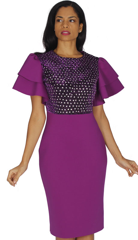 Diana Couture 8535-VI ( 1pc Scuba Knit Ladies Church Dress With Flared Sleeves )