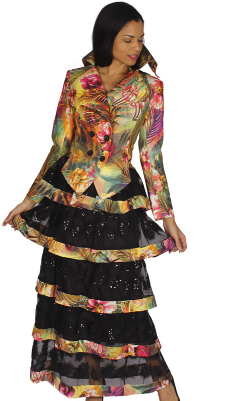 Diana Couture 8541-MU ( 2pc Novelty Church Suit With Multi Print )