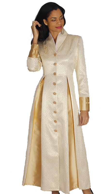 Diana Couture 8556-GO ( 1 Pc Silk With Brocade Womens Sunday Robe For Church )