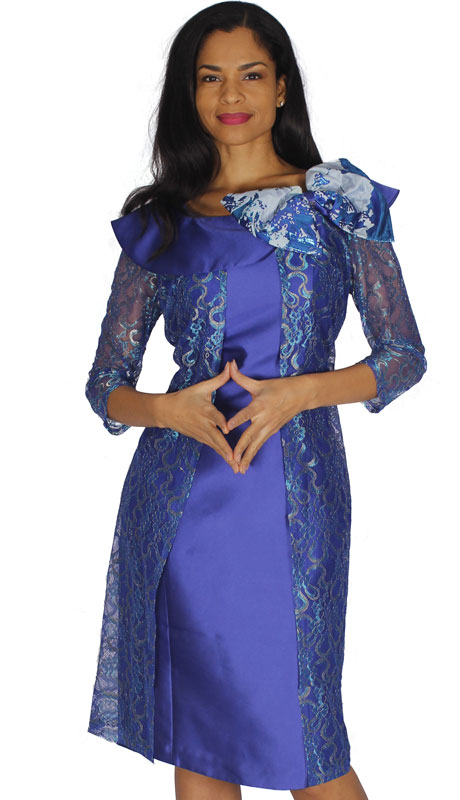 Diana Couture 8565-RO ( 1pc Silk Dress For Church With Sheer Sleeves And Bow )