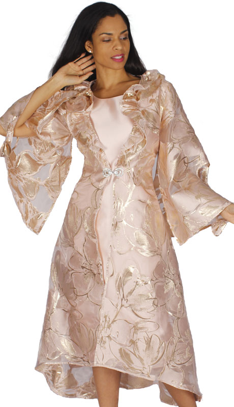 Diana Couture 8590-MA ( 2pc Silk With Organza Jacket Dress With Bell Sleeves And Ruffles )