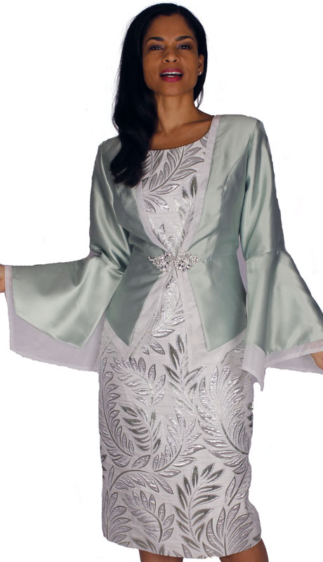 Diana Couture 8591-SA ( 2pc Silk With Brocade Jacket Dress With Rhinestone Clasp And Bell Sleeves )