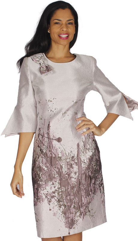 Diana Couture 8593-LB ( 1pc Jacquard Ladies Church Dress With Flared Sleeves )