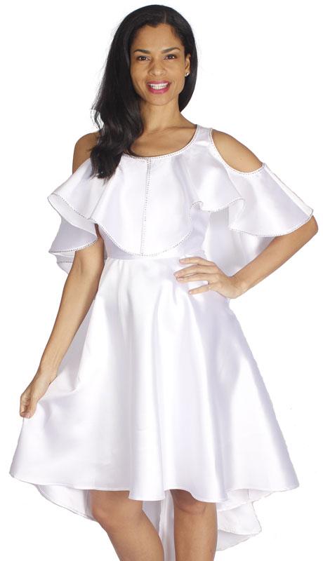 Diana Couture 8596-WH ( 1pc Silk Ladies Church Dress )