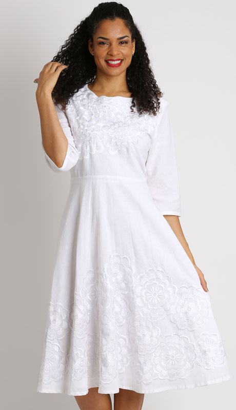 Ella Belle 8219-WH ( 1pc Ladies Linen Dress With Embroidery )
