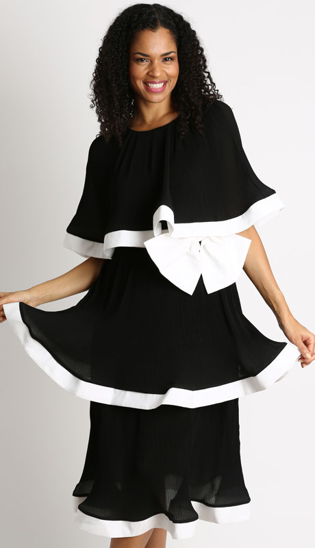 Diana Couture D1028-BW ( 1pc Georgette Womans Dress With Cape And Matching Bow )