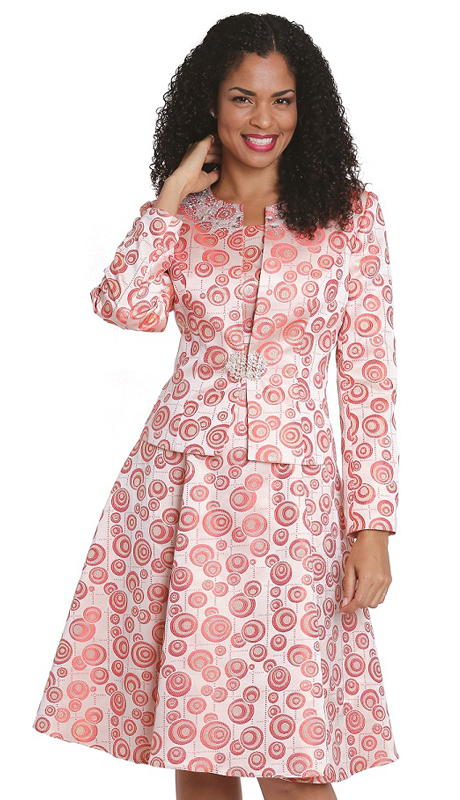 Diana Couture 8195 C ( 2 Pc Womens Sunday Suit Brocade Jacket Dress )
