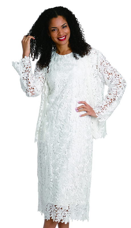 Diana Couture 8205-OW ( 2pc Lace Womens Suit For Church With Beautiful Natural Pattern )