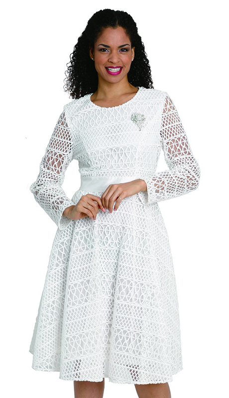 Diana Couture 8091 ( 1pc Lace Ladies Dress For Church With Stylish Cutout Design )