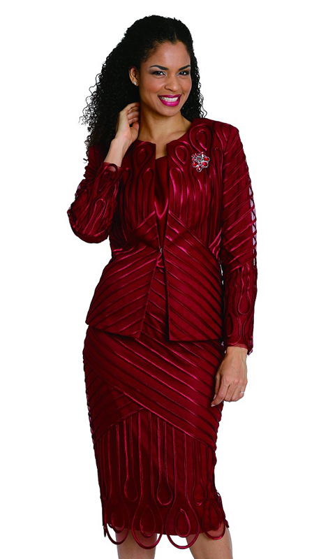 Diana Couture 8120 ( 3pc First Ladies Satin Suit With Strip Design )