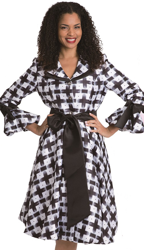 Diana Couture 8222- BW ( 1 Pc Silk Print Dress For Church )