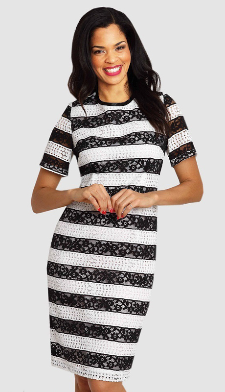 Diana Couture 8006 ( 1pc Womens Dress With Contrasting Stripes )