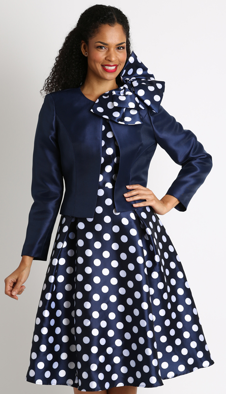 Dianna Couture 8287 ( 3pc Ladies Church Suit With Bold Polka Dot Pattern And Detachable Bow )
