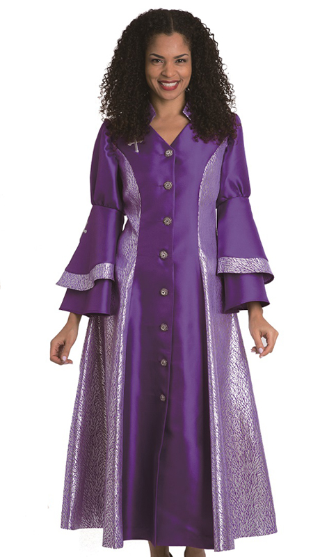 Diana Couture 8147 Purple ( 1 Pc Silk Women Sunday Robe For Church )