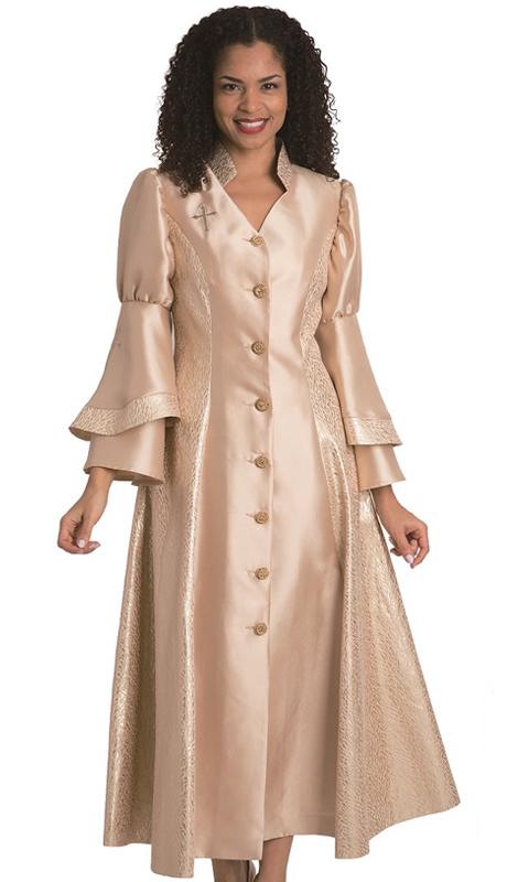 Diana Couture 8147-Gold ( 1 Pc Silk Women Sunday Robe For Church )
