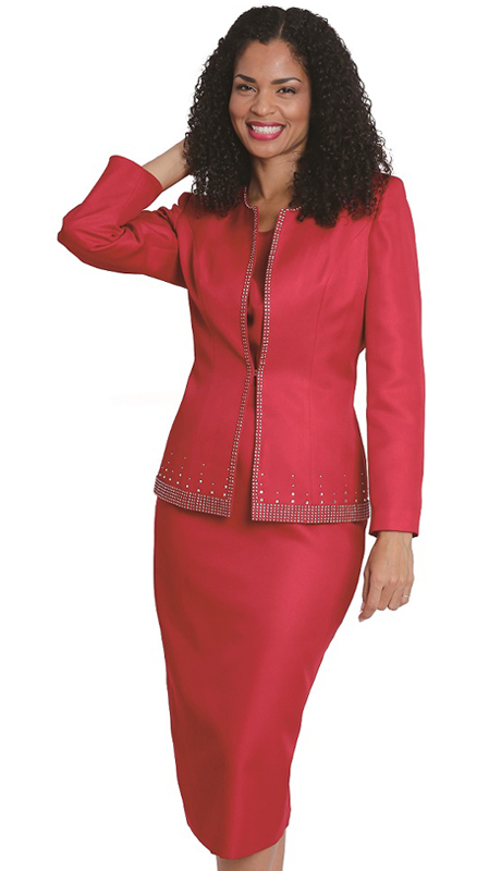 Diana Couture 8130 R ( 3 Pc Peach Skin Ladies Suit For Church )