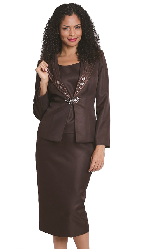 Diana Couture 8131 B ( 3 Pc Peach Skin Ladies Suit For Church )