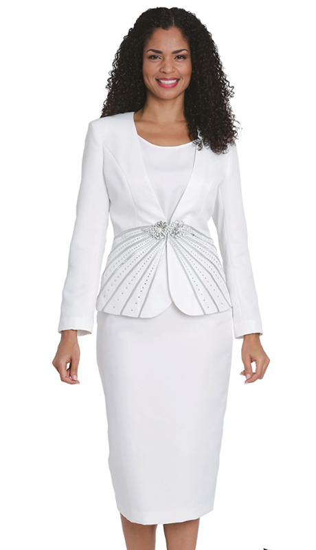Diana Couture 8161-8168-W ( 3 Pc Peach Skin First Lady Skirt Suit For Church )