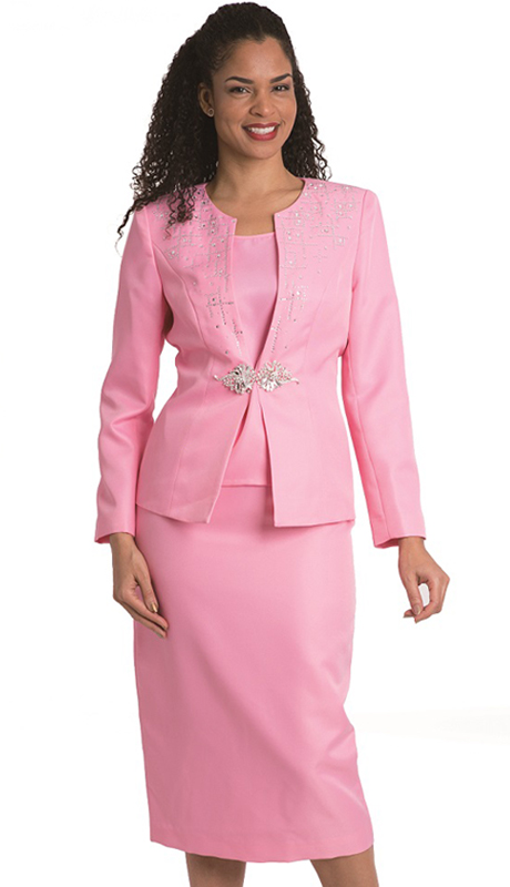 Diana Couture 8232-P ( 3 Pc Peach Skin First Lady Skirt Suit For Church )