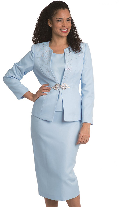 Diana Couture 8232-B ( 3 Pc Peach Skin First Lady Skirt Suit For Church )