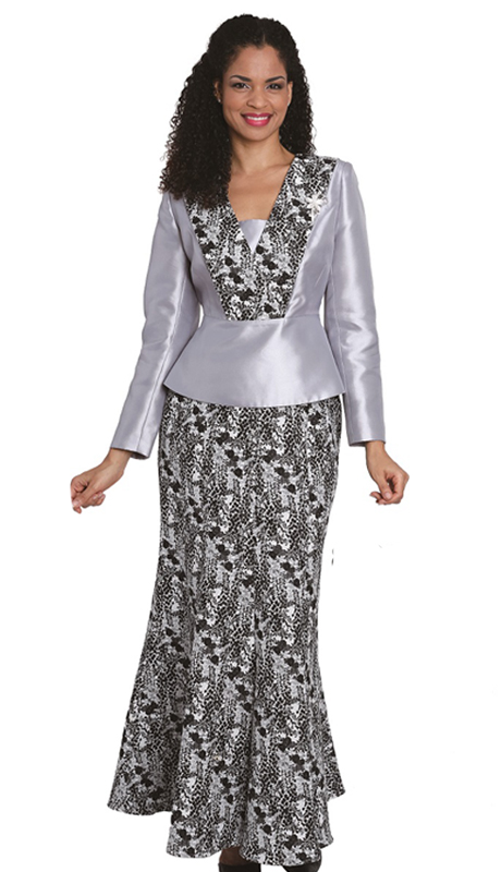 Diana Couture 8108 ( 2 Pc Silk With Lace Long skirt For The First Lady Suit)