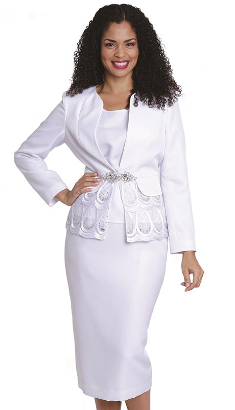 Diana Couture 8163 ( 3 Pc Peach Skin Women Sunday Suit For Church )