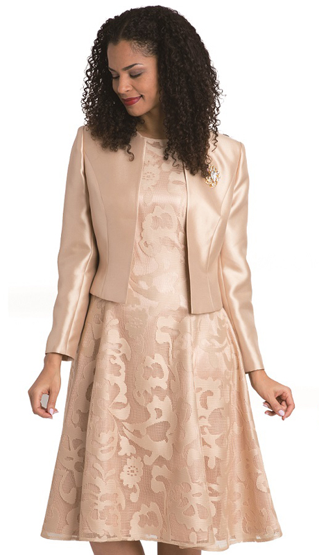 Diana Couture 8138-CH-CO ( 2pc Silk Look Jacket With Lace Dress )
