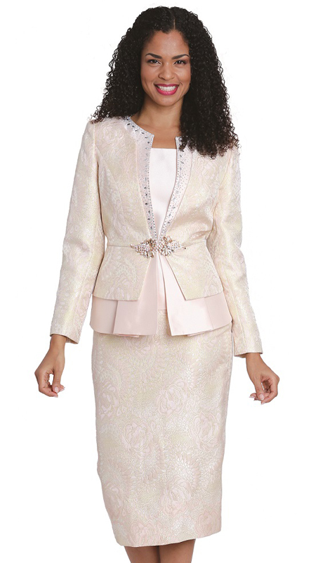 Diana Couture 8198 ( 3pc Brocade Suit For Church )