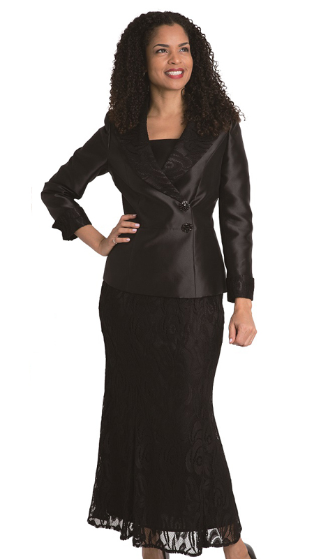 Diana Couture 8206 (  2pc Ladies Suit With Lace Skirt For Church )