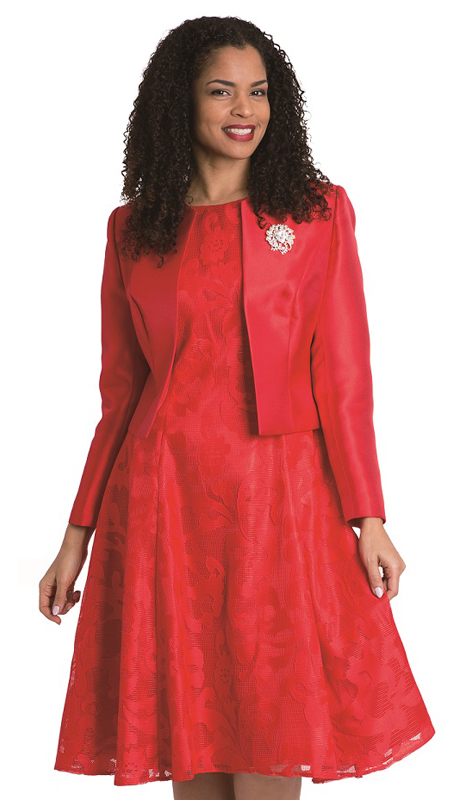 Diana Couture 8138-R ( 2pc Silk Look Jacket With Lace Dress )