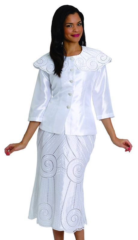 Diana Couture 8033 ( 2pc Womens Shantung Sunday Suit With Lacey Cutouts And Button Up Front )