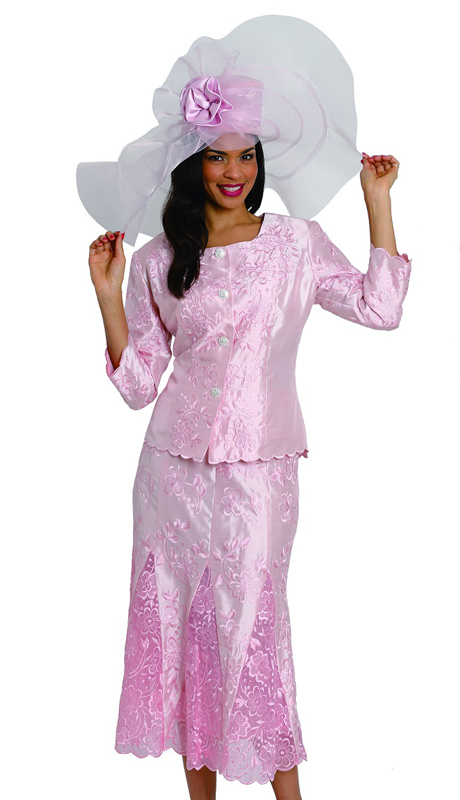 Diana Couture 8034 ( 2pc Womens Shantung Suit With Monotone Floral Pattern )