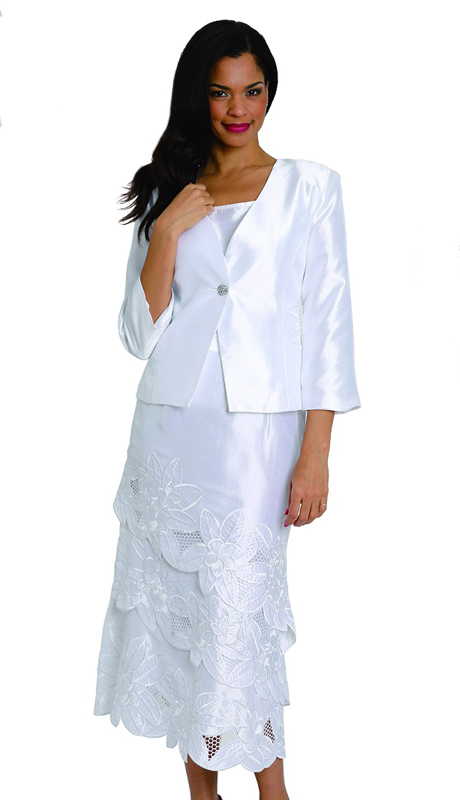 Diana Couture 8042 ( 3pc Womens Shantung Church Suit With Solid Jacket And Patterned Skirt )