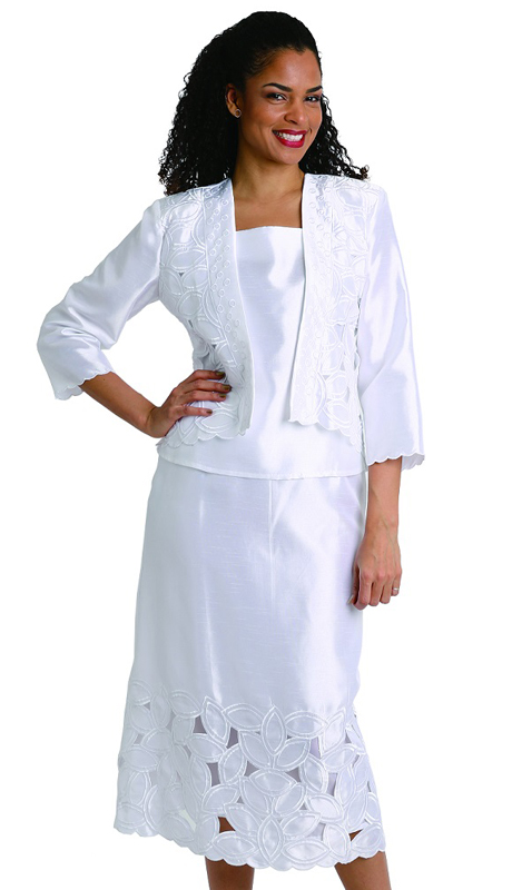 Diana Couture 8202 ( 3pc Womens Shantung Suit With Contrasting Solid Top And Stitched Jacket )