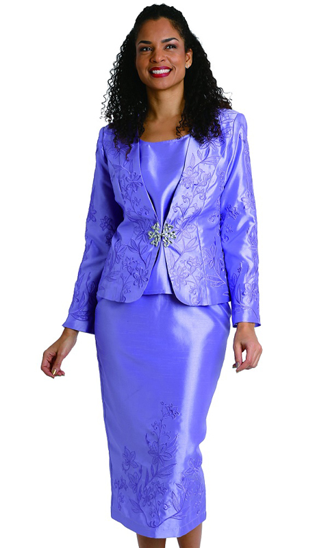 Diana Couture 8201 ( 3pc Womens Shantung Suit For Church With Stitched Patterning And Shimmering Brooch )