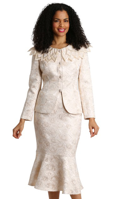 Diana Couture 8274-CH ( 2pc Brocade Ladies Sunday Suit )